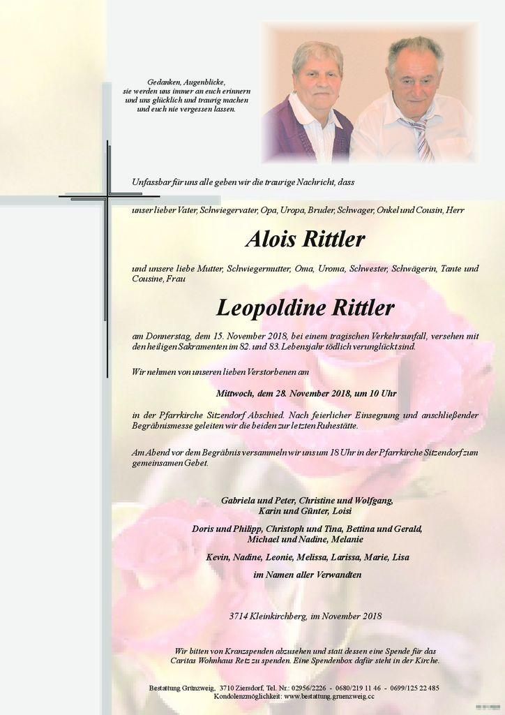 Alois und Leopoldine Rittler