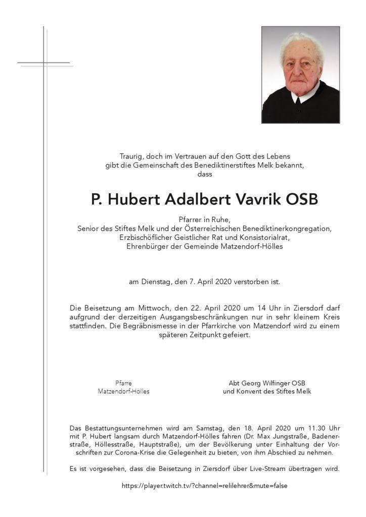 P. Hubert Adalbert Vavrik OSB